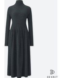 Uniqlo - Women 3d Extra Fine Merino Ribbed Long-sleeve Dress - Lyst