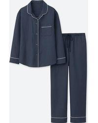 Uniqlo | Women Long-sleeve Cotton Piping Pajamas | Lyst