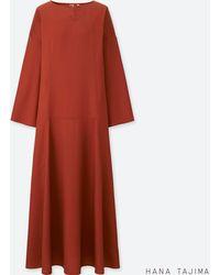 9632f08ebc Uniqlo Women Flare Long-sleeve Long Dress in Black - Lyst