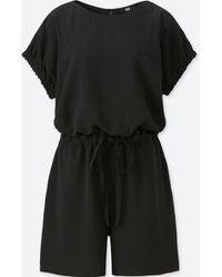 9ccb0ab1686 Uniqlo - Women Drape Short-sleeve Romper (online Exclusive) - Lyst