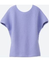 Uniqlo - 100% Cotton 3d Cotton Boat Neck Short Sleeve Sweater - Lyst