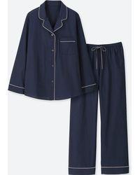 Uniqlo - Women Cotton Long-sleeve Pajamas - Lyst