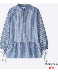 53a9a5e6a03 Uniqlo - Women Jwa Linen Cotton Striped 3 4 Sleeve Blouse - Lyst