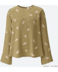04851ba29b2 Uniqlo - Women Rayon Printed Flare Long-sleeve Blouse - Lyst