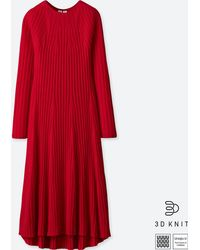 Uniqlo - Women U 3d Extra Fine Merino Crewneck Flare Long-sleeve Dress - Lyst