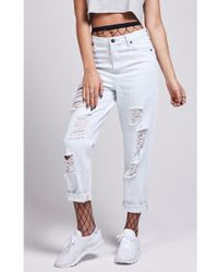 SIKSILK - Women's Bleach R.i.p Mom Fit Jeans - Lyst