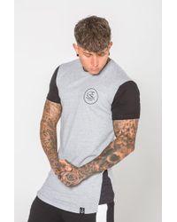 Enuki London - Side Split T-shirt Gry/blk - Lyst