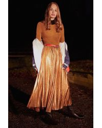 Urban Outfitters | Uo Gold Rush Pleated Metallic Midi Dress | Lyst