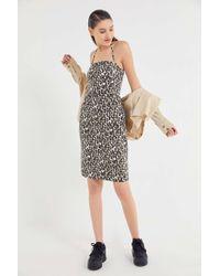 c1e8e5c05eae Urban Outfitters - Uo Leopard Print Denim Halter Midi Dress - Lyst