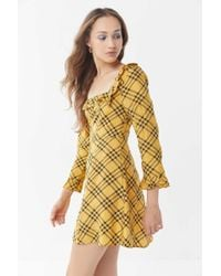 Urban Outfitters - Uo Kristen Plaid Ruffle Square-neck Dress - Lyst
