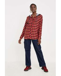 BDG - Darcy Plaid Flannel Hooded Button-down Shirt - Womens Xs - Lyst