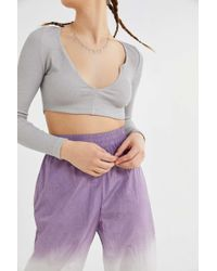 Motel - Guan Notched Henley Cropped Top - Lyst