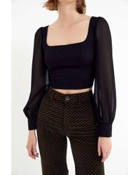 Urban Outfitters - Uo Lena Sheer Sleeve Square Neck Blouse - Lyst