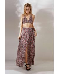 c9a5b5e2de Urban Outfitters Uo Green Satin Floral Midi Skirt - Womens L in ...
