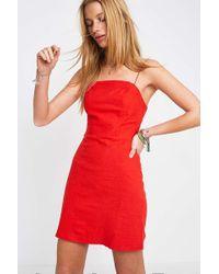 6ef042e5a20 Urban Outfitters Uo Colette Cherry Print Stretch Linen Mini Dress ...