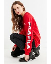 Fila - Fila + Uo Double Logo Crew-neck Sweatshirt - Lyst
