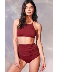 Out From Under - Solid Ruched High-waisted Bikini Bottom - Lyst