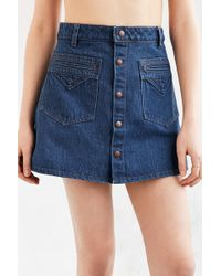 Objects Without Meaning - For Uo Denim Button-down Mini Skirt - Lyst