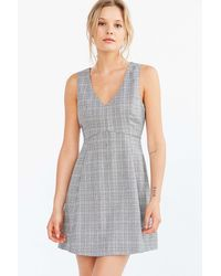Cooperative - Houndstooth Empire Waist Mini Dress - Lyst