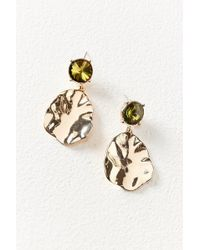 Urban Outfitters - Rox Crystal Stud Hammered Drop Statement Earring - Lyst