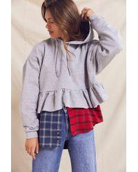 Urban Outfitters - Recycled Peplum Hoodie Sweatshirt - Lyst