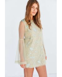 Kimchi Blue - Soft Landing Embroidered Mesh Lace Mini Dress - Lyst