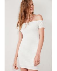 Silence + Noise - Shadow Striped Off-the-shoulder Bodycon Dress - Lyst