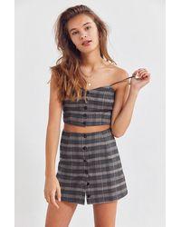 Cooperative - Plaid Button-down Mini Skirt - Lyst