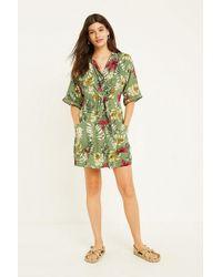 Urban Outfitters - Uo Aloha Khaki Floral Shirt Dress - Lyst