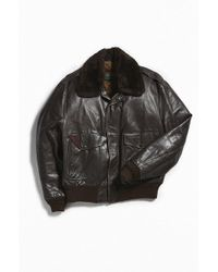 Urban Outfitters - Vintage Leather Fluffy Collar Bomber Jacket - Lyst