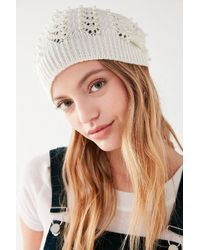 Urban Outfitters - Pointelle Pearl Beanie - Lyst