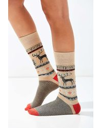 Out From Under - Reindeer Intarsia Sock - Lyst