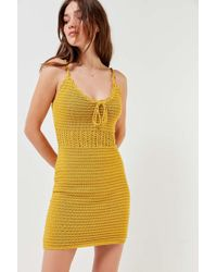 Urban Outfitters - Uo Tie-front Crochet Mini Dress - Lyst