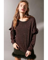 Urban Outfitters - Uo Shine On Ruffle Sleeve Glitter Sweater - Lyst