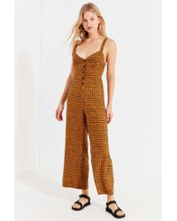 17e3b9db8cca Urban Outfitters - Uo Ashley Button-down Tie-back Jumpsuit - Lyst