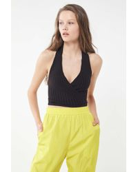 Urban Outfitters - Tessa Ribbed Surplice Halter Top - Lyst