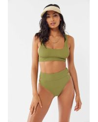 2e0c72ad7dd49 Lyst - Out From Under Wynona Knot-front Ribbed Bikini Top in Green