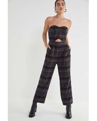 068c85ba6353 Lyst - Urban Outfitters Uo Straight-neck Linen Button-down Jumpsuit