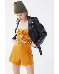 ac51316110c8 Urban Outfitters - Uo Maddie Yellow Velvet Tie-front Playsuit - Womens Xs -  Lyst