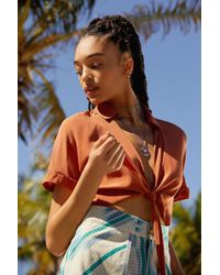 Urban Outfitters - Uo Tie-front Short Sleeve Cropped Top - Lyst