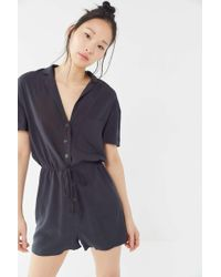 2c6ae35378ff Urban Outfitters - Uo Dad Collared Button-front Romper - Lyst