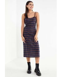 Urban Outfitters - Uo Plaid Empire Waist Midi Dress - Lyst