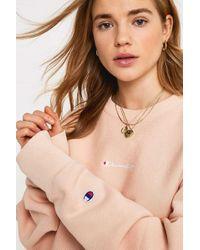 Champion - Uo Exclusive Logo Script Pink Crew Neck Sweatshirt - Womens L - Lyst
