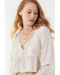 23721301783285 Urban Outfitters - Uo Florence Embroidered Ruffle Cropped Top - Lyst