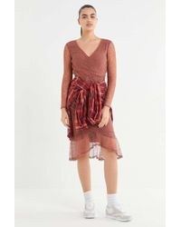 Urban Outfitters - Uo Lace Ruched Long Sleeve Midi Dress - Lyst