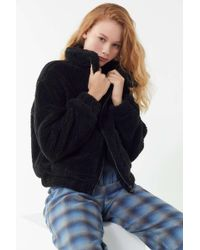 Urban Outfitters - Uo Cropped Teddy Jacket - Lyst