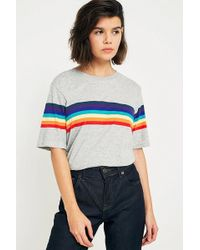 Urban Outfitters - Uo Rainbow Striped Sleeve T-shirt - Lyst