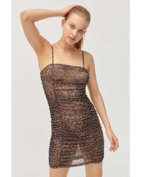 Motel - Seruchi Leopard Print Mesh Mini Dress - Lyst