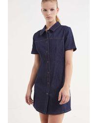 BDG - Denim Contrast Stitch Mini Dress - Lyst