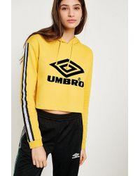 Umbro - Yellow Flocked Logo Cropped Hoodie - Lyst